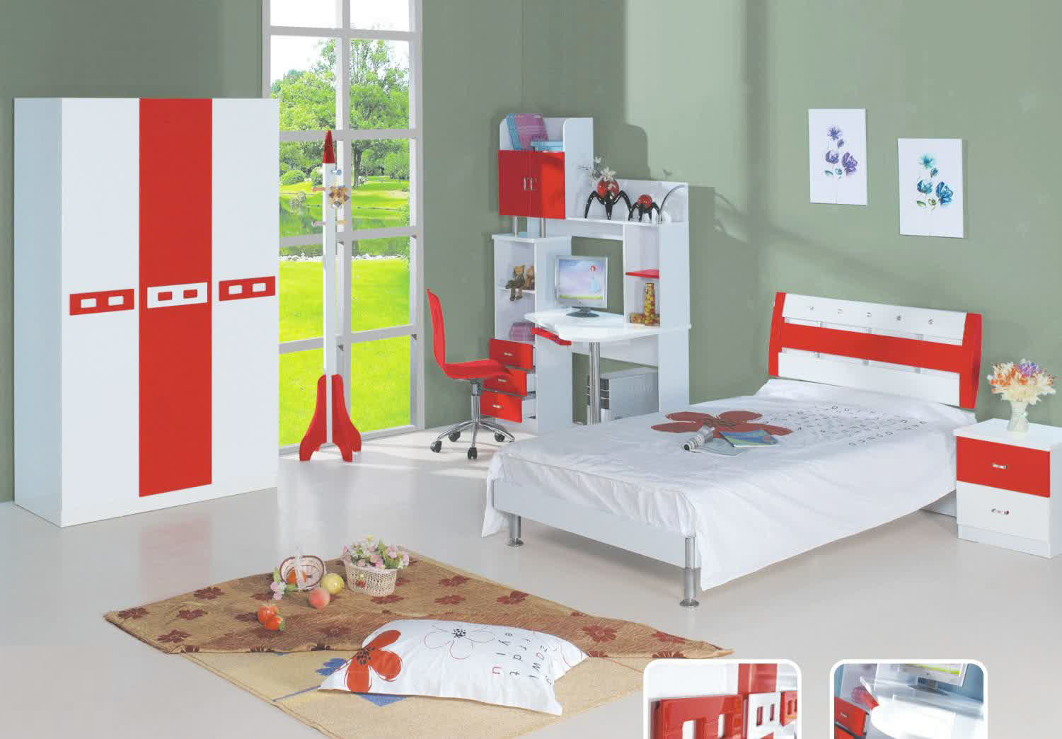 Kidszone furniture boys bedroom set 2 for Kids bedroom furniture sets
