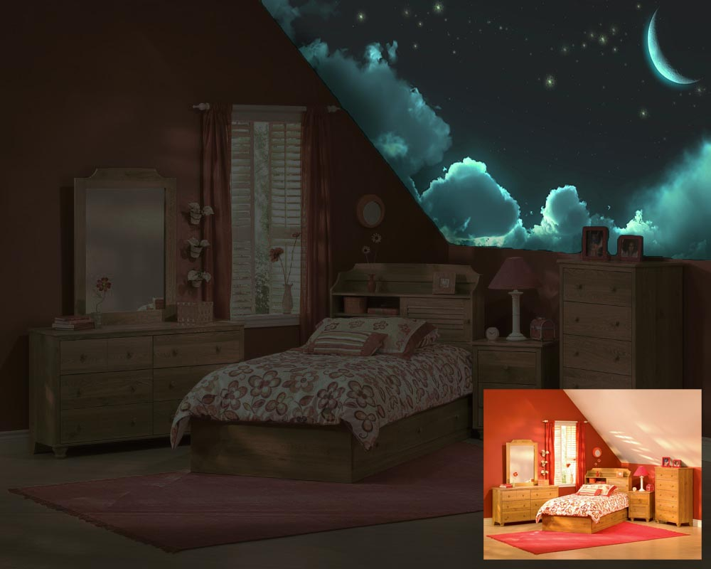 Kidszone furniture galaxy ceiling 4 for Luminous bedroom