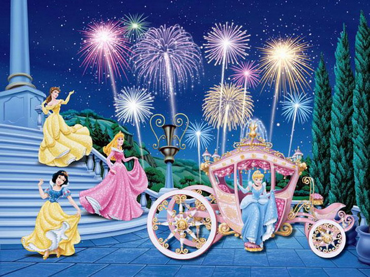 Kidszone furniture wall painting 16 for Disney princess ballroom wall mural