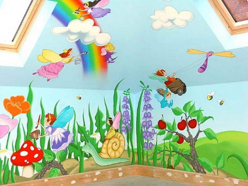 Kidszone furniture wall painting 5 for Creation mural kids
